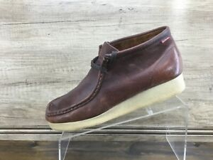 Clarks Padmore Mens Brown Oiled Leather Casual Shoes Boots Men Size 9M Excellent