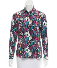 EQUIPMENT Leema Abstract Print Silk Shirt Blouse in Zen Blue Size Small S