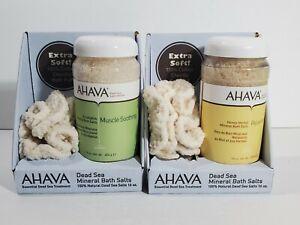 AHAVA Dead Sea Mineral Bath Salts Set 2 Muscle Soothing Relaxation 16oz w/Scrub