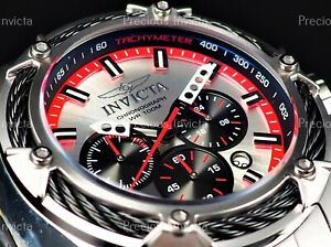 ➤Invicta Men 52mm BOLT Chronograph SKELENTONIZED HANDS Red/Silver Tone SS Watch