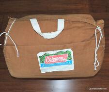 Coleman Vintage Sleeping Bag Tan Brown Flannel Duck Patterned Lining Camping