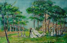 "Cuban Artist Painter, Oliva Robain, Original Oil on Canvas ""The Wedding"" 1968"