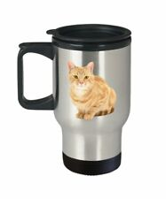 Orange Tabby Cat Travel Mug - Orange Tabby Cat Coffee Mug - Funny Insulated...