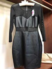 2B Bebe Black Mesh Dress Faux Leather NWT Size Small