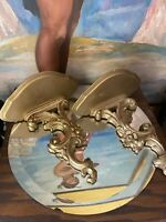Vintage Pair of  Syroco Gilt Wood Hollywood Regency Wall Shelves Made in Italy