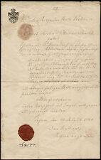 RARE Bürgerschein Königreich Sachsen 1864 Citizen Kingdom Saxony Wax Seal FISCAL