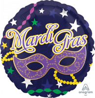 MARDI GRAS FOIL BALLOON MASQUERADE MASK BEADS STARS PARTY DECORATION 43CM