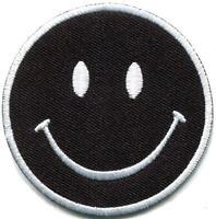 Smiley face black retro boho hippie 70s fun smile applique iron-on patch S-1170