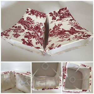 Vintage French toile countryside lampshade shade Pair Pink Cream  Handmade