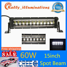 "15""Inch 60W LED Work Light Bar Off Road Fog SPOT Driving Lamp Angle Eye SUV Boat"
