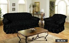 Jacquard Sofa Cover Settee Cover 2 Seater BLACK Elastic Fitting