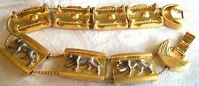 VINTAGE Gold Silverplated Panther Cougar Cat Slide bracelet estate jewelry