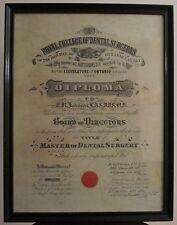 antique 1921 royal college of dental surgeons ontario canada johnson diploma - Ecu Diploma Frame