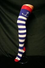 BLUE+WHITE WIDE STRIPE+ANCHOR OVER THE KNEE HIGH COTTON SOCKS SAILOR-NAUTICAL