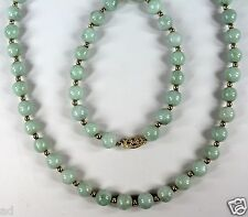 """Vintage 14K Yellow Gold 8mm Natural Jade Bead Necklace 25"""" Length c1960s"""
