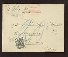 SWISS 1915 WW1 MILITARY CENSOR 20c FRANCHISE NO CONTROL