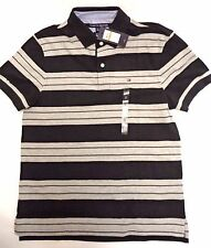 Men's Tommy Hilfiger casual striped polo shirt black grey Small Classic fit NEW!