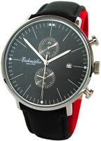 Eichmüller Herrenuhr Chronograph Datum Quarz Lederband schwarz Bauhaus Stil 44mm