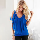 Womens Plunge V Neck Loose T-shirt Blouse Batwing Short Sleeve Casual Boho Tops