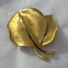 Vintage Designer Signed BSK Gold Wash 3D Leaf Brooch Pin