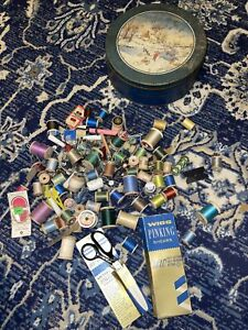 Lot of Vintage Sewing String Thread Needles Etc