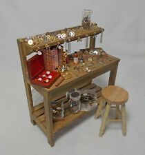 Dolls House Miniature filled watchmaker jeweller clockmaker table electric lamp
