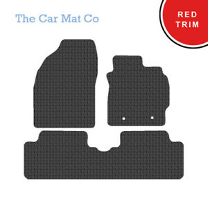 Fully Tailored Black Rubber Car Mats With Red Binding for Toyota Auris 2007-2012