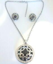 Marie Claire Bundle Clover Medallion Necklace Swarovski Crystals & Earrings set