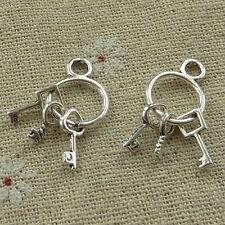 free ship 120 pieces tibetan silver key charms 27x12mm #3556