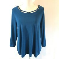 Travelers by Chico's Sz 2 Large L Turquoise Top 3/4 sleeve