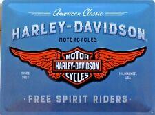PLAQUE METAL vintage HARLEY DAVIDSON free spirit riders - 40 x 30 cm