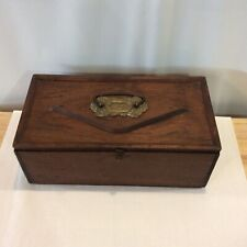 Vintage Handmade Wooden Storage Box with Ornate Brass Handle and Latch