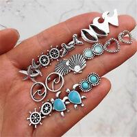 12 Pairs Mix Boho Earrings Sea Turtle Mermaid Tail Rudder Ear Stud Earrings Set,