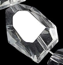 15x20mm Faceted White Crystal Quartz Nugget Loose beads 10PCS