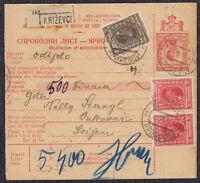 Kingdom SHS 1927 Consignment note Krizevci - Vukovar