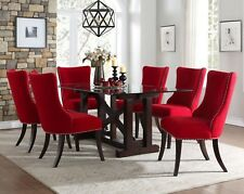 Contemporary Glass Dining Table With Contoured Back Red Chairs Furniture Sale
