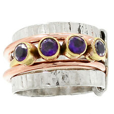 Two Tone - Amethyst 925 Sterling Silver Ring Jewelry s.7.5 RR36579