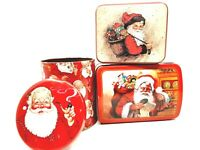 Three Assorted Santa Claus Christmas Holiday Tins Metal Storage Containers