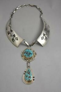 """Sterling Silver & Turquoise Hopi Collar Necklace By Bueford Dawahoya 11.5""""Length"""