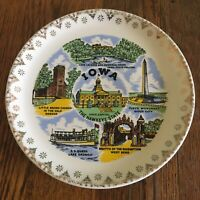 Vtg Iowa Souvenir plate gold trimmed white The Hawkeye state Sioux City SS Queen