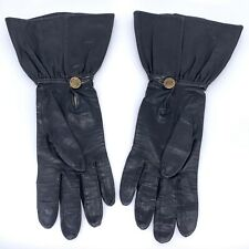Vintage 60s Bacmo Black Leather Button Gloves Size 6.5