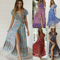 Women Wrap Summer Boho Floral Paisley Maxi Print Dress Ladies Holiday Beach EW