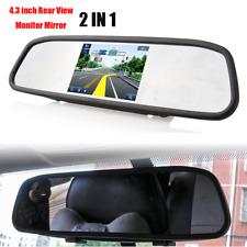 """4.3"""" TFT LCD Car Rear View Mirror Reverse Monitor 2 In 1 For Camera Kit DVD VCR"""