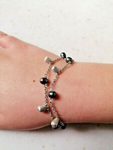 Sterling silver and grey pearl Links of London double-strand bracelet; FREE POST