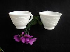 Vintage Indiana Glass Heavy Pebble Leaf Design Punch Cups - Retired - Set of 2