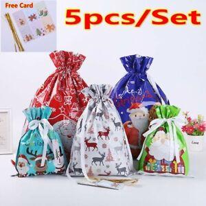 5x/Set Christmas Gift Partys Bags Sacks Reusable Drawstring Wrap Present Storage