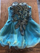 Sherri Hill Dress Size 10 Peacock Feather Turquoise Tulle Formal Prom Cocktail