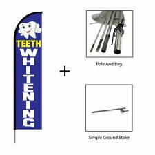 Teeth Whitening Dentist Banner Swooper Feather Flag Pole Kit Outdoor Sign, 15ft