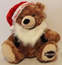 """HD Harley Davidson Santa Christmas Bear Hat Black Vest White Beard 13"""""""