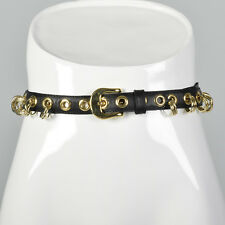 XXL 1990s Yves Saint Laurent Rive Gauche Black Leather Belt VTG Gold Adjustable